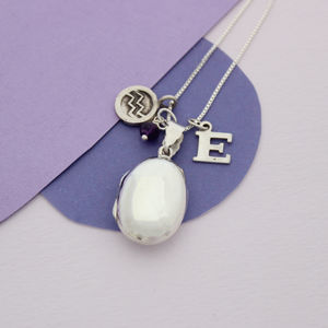 Personalised Silver Oval Locket With Birthstone - necklaces & pendants