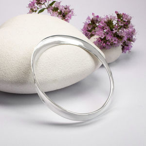 Sterling Silver Concave Twist Bangle - bracelets & bangles