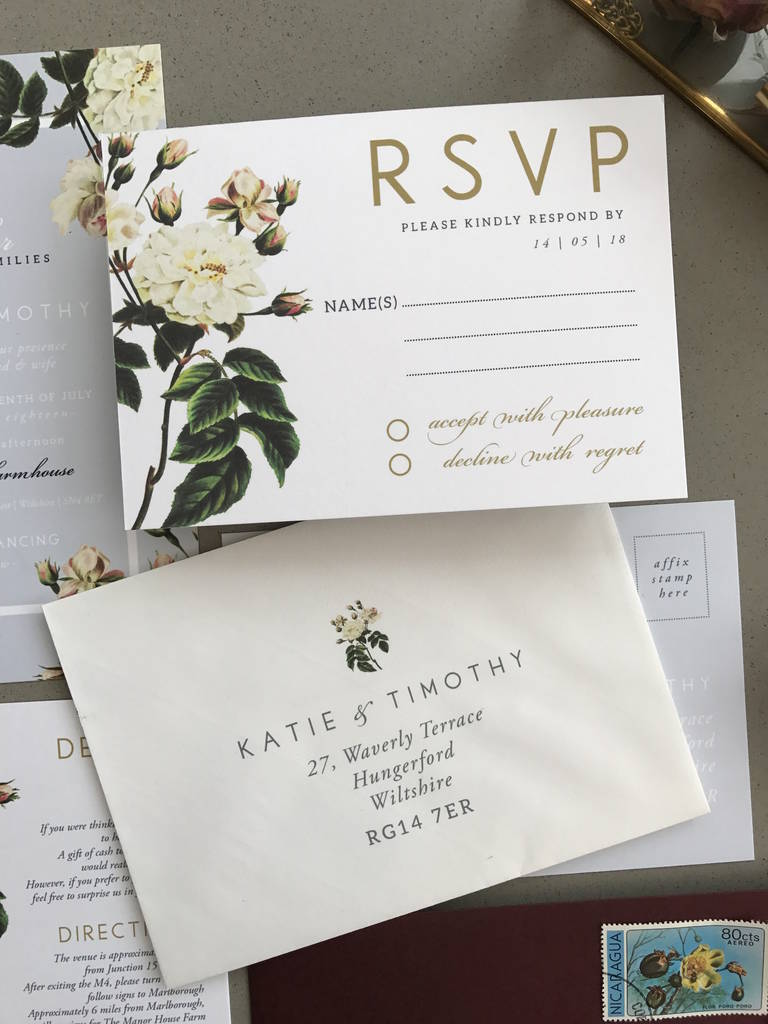french grey botanical wedding invitation set by sweet pea sunday ...