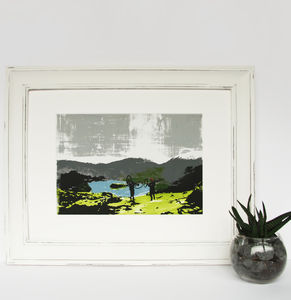 'Loughrigg' Original Screen Print Mountain Biking - limited edition art