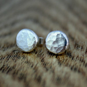Recycled Textured Silver Stud Earrings