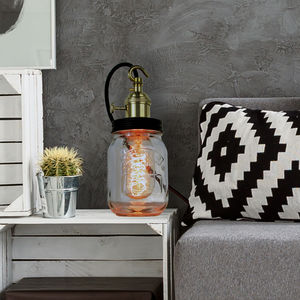 Contemporary Jam Jar Lamp - bedside lamps