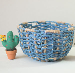 Blue Dot Handmade Wire Metal Fabric Woven Basket Bowl - kitchen
