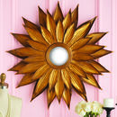 Antiqued Gold Sunflower Wall Mirror