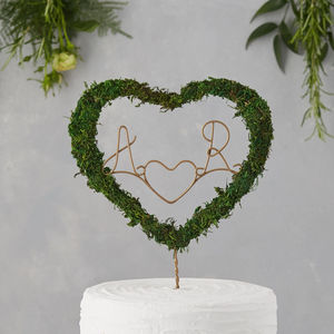 Moss Initials Cake Topper - natural artisan wedding trend