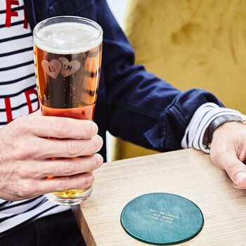 Personalised Pint Glass With Leather Coaster