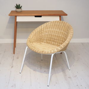 Wicker Tub Chair With White Metal Legs