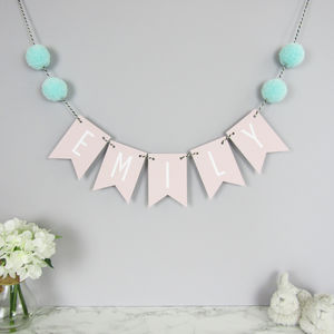Personalised Name Bunting With Pom Poms - gifts for babies & children sale