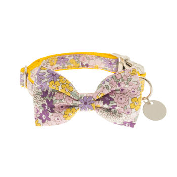 Yellow Bouquet Floral Bow Tie Dog Collar