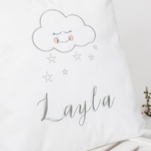 Personalised Sleepy Cloud Nursery Cushion - dreamland nursery