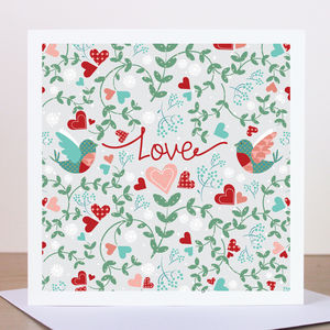 'Love' Love Birds Valentine's Card - shop by category
