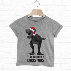 T Rexcellent Kids Christmas Dinosaur T Shirt - clothing