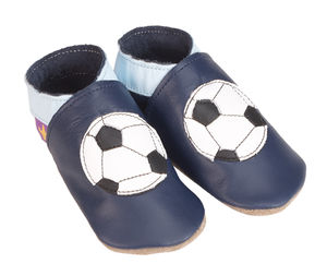 Boys Soft Football Navy Leather Baby Shoes - children's slippers