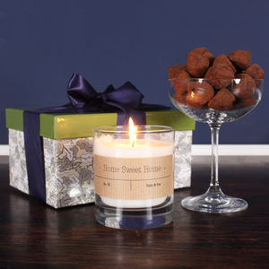 Personalised Housewarming Candle And Truffles Gift