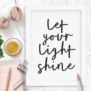 'Let Your Light Shine' Typography Print - winter sale