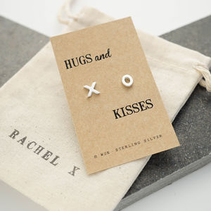 Hugs And Kisses Silver Earrings - love tokens
