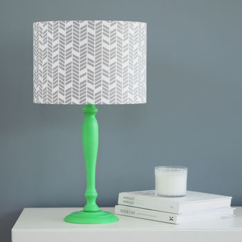 Grey And White Broken Herrinbone Drum Lampshade