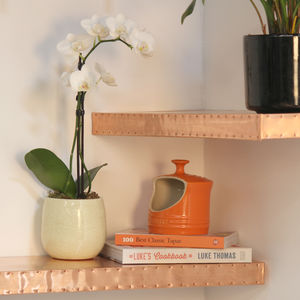 Hand Finished Copper Shelf - laundry room