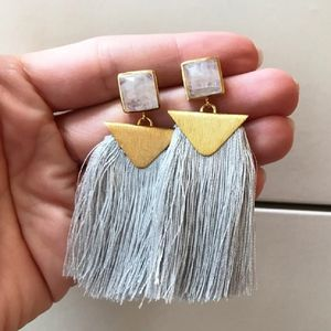 14k Gold Plated Tassel Statement Earring - earrings