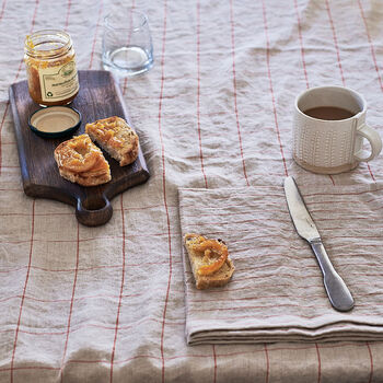 Rust Check Linen Tablecloth
