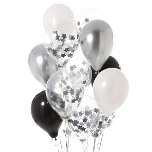 Pack Of 14 Monochrome Star Confetti Balloons