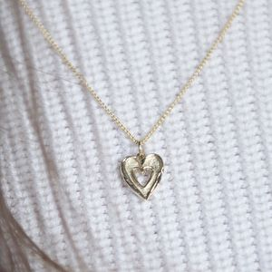 Solid 9ct Gold Textured Double Heart Pendant