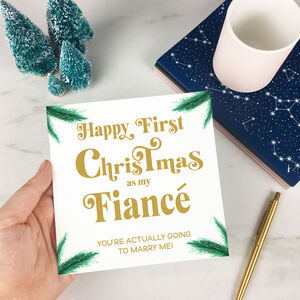 Personalised First Christmas Card As Fiancé Or Fiancée