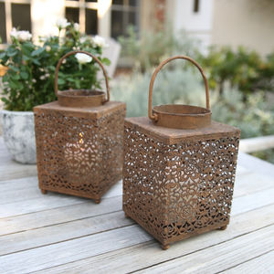 Vintage Style Square Latticework Lantern - lights & lanterns