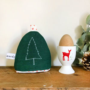 Embroidered Nordic Trees Egg Cosy - egg cups & cosies