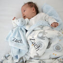 Personalised Blanket And Blue Elephant Comforter Set