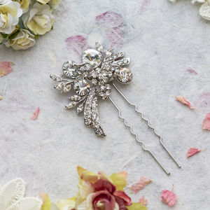Breya Crystal Hair Pin - bridal hairpieces