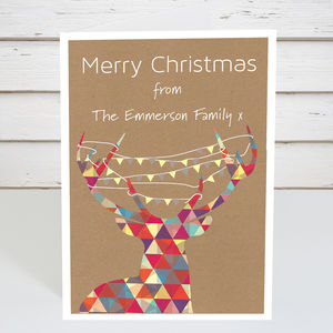 Personalised Geometric Reindeer Christmas Card