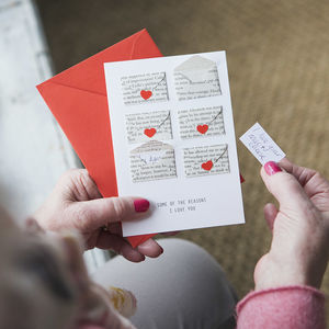 Six Love Note Mini Envelope Valentine's Card - valentine's cards for him