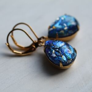 Blue Peacock Opal Teardrop Earrings