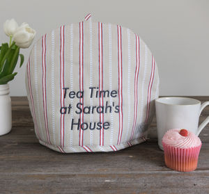 Personalised Malvern Grey Red Stripe Tea Cosy