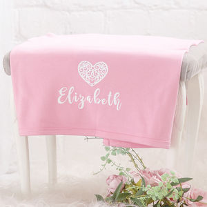 Personalised Pink Cotton Heart Blanket