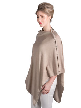 Beige Personalised Pure Cashmere Button Poncho