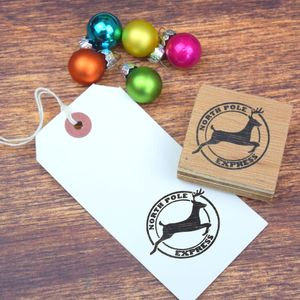 Handmade Flying Reindeer Postmark Stamp - finishing touches