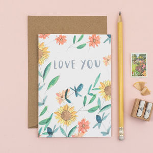 'Love You' Floral Valentine's Card