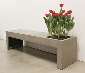 Green Concrete Bench - summer garden