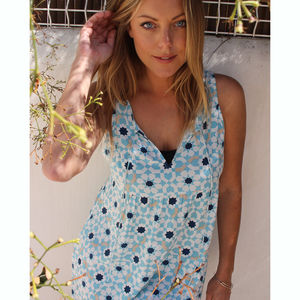 Turquoise And Sapphire Bamboo Bib Nightdress - dresses