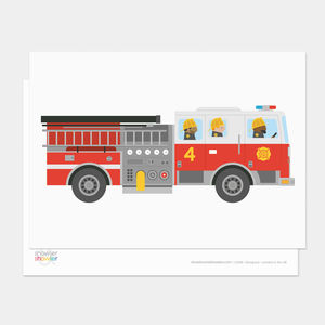 Fire Engine Postcard - blank cards