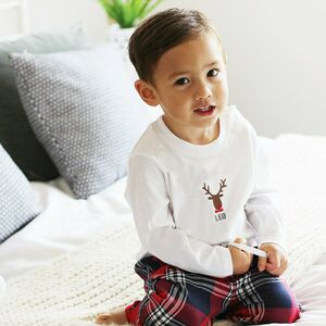 Personalised Embroidered Rudolf Pyjamas