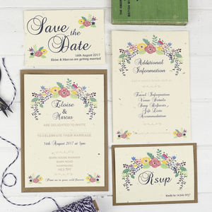 Summer Flowers Wedding Invite Set - save the date cards