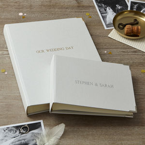 Personalised Wedding Photo Album In Linen - natural artisan styling