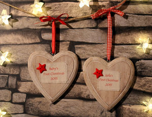 Personalised Hanging Heart - tree decorations
