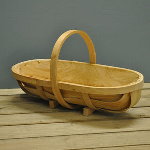 Large Traditional Wooden Trug Basket - baskets