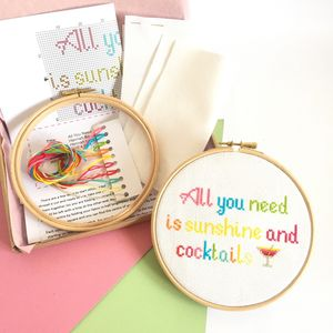Sunshine And Cocktails Cross Stitch Kit - craft-lover
