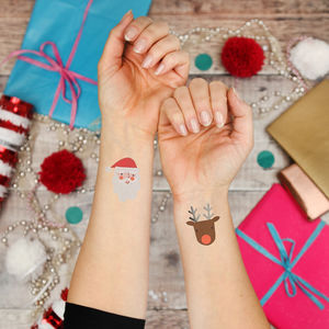 Christmas Santa And Rudolf Temporary Tattoos - temporary tattoos
