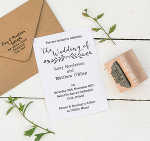 Wedding Invitation Stamp With Natural Sprig